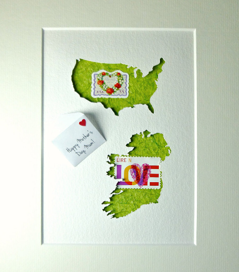 Handcrafted American & Irish Map, Envelope Message And Real Postage Stamps
