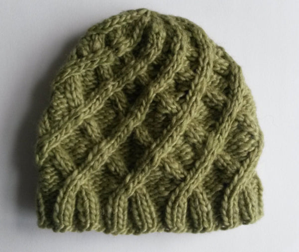 Aran Baby Hat: handknit baby beanie in luxury silk/cashmere Noro yarn. Made in Ireland. 3-6 month size. Original design. Unisex green cap.
