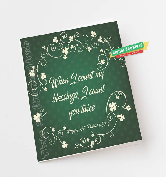 St Patrick's Day Card, St Patrick's Day blessing, Download St Patrick's Day Card, St Patrick's Day, Instant Print St Patrick's Day Card
