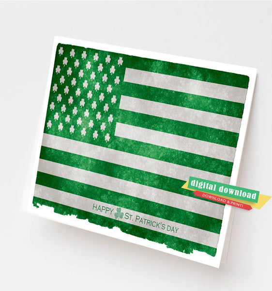 Irish American, St Patrick's Day Irish American greeting card, Printable St Patrick's Day card, St Patricks Day greeting card, Irish abroad