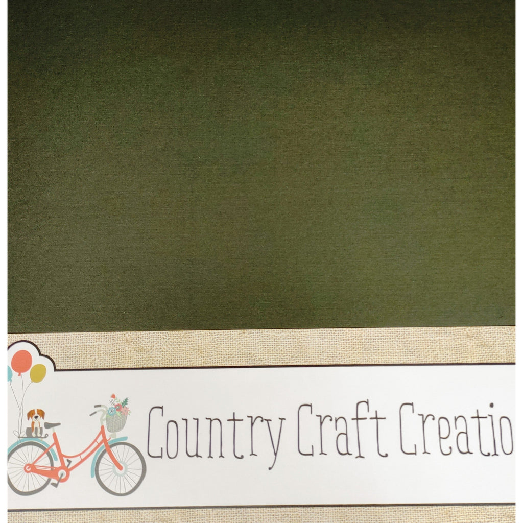 Artisan Cardstock - Linen - Olive Green / Single Sheets - NEW COLOR