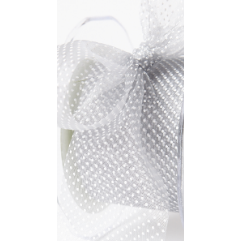 Sheer Polka Dot Ribbon Silver - Sold by the Yard