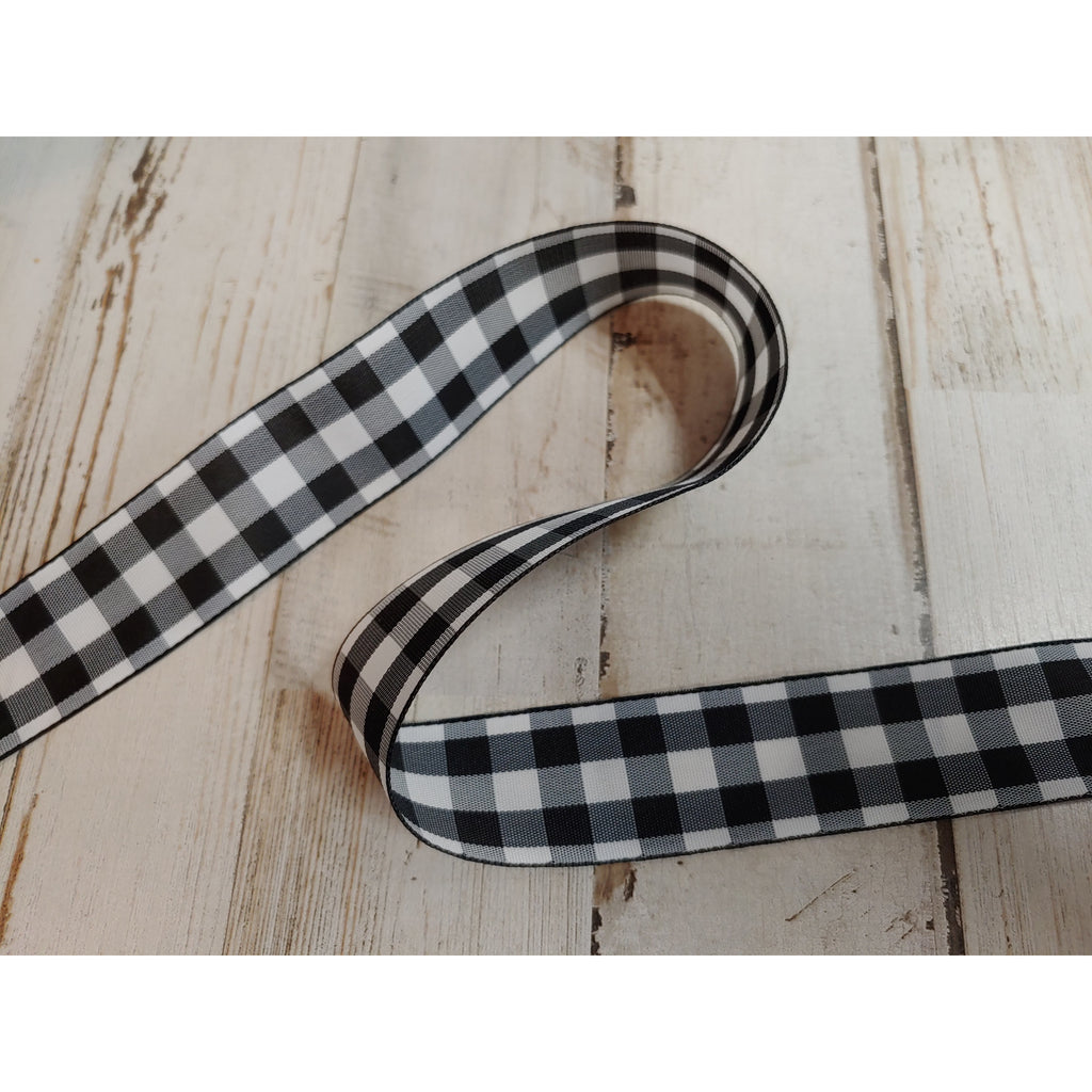 "Ribbon - 1"" Buffalo check / Black and White Satin"