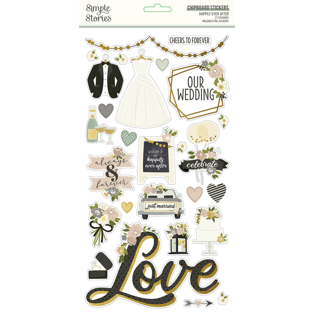 Simple Stories - Happily Ever After - 6x12 Chipboard Stickers