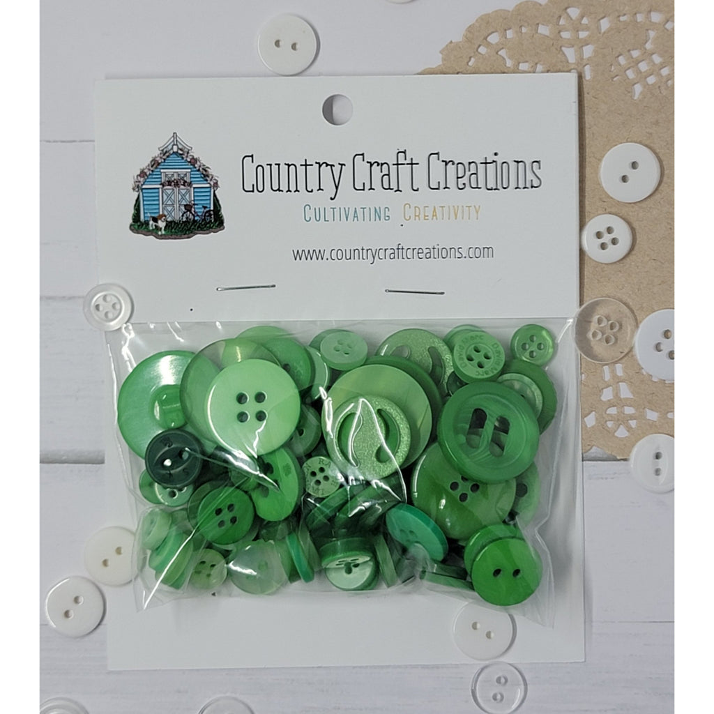 Buttons - Granny's Craft Buttons - Peacock Green