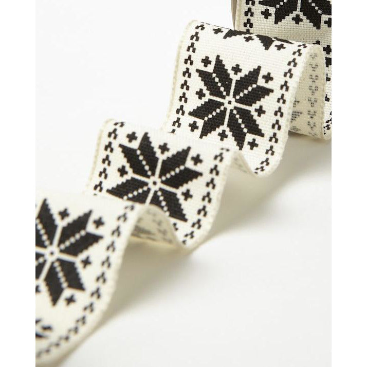 1.5 Inch Wired Scandinavian Snowflake Ribbon - Sold by the Yard Black