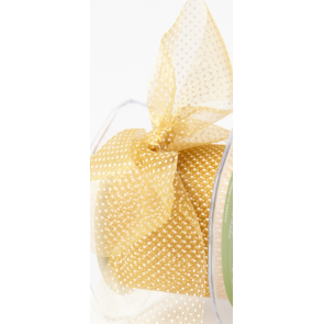 Sheer Polka Dot Ribbon Gold - Sold by the Yard