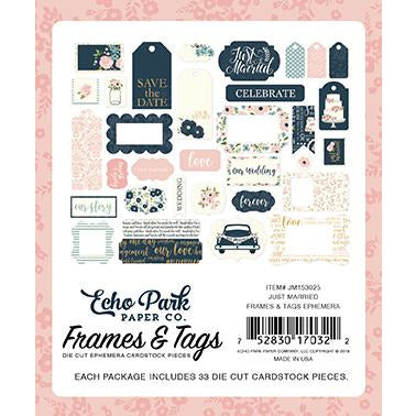 Echo Park Just Married Frames & Tags Ephemera