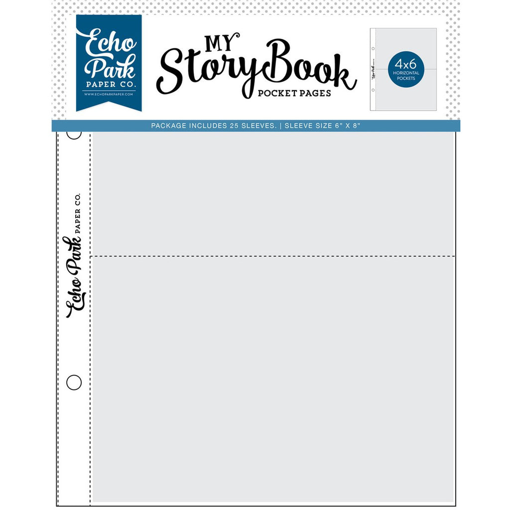 Echo Park - My Story Book Pocket Pages - 6x8 Pocket Page - 4x6 Pockets - 25 Sheet Pack
