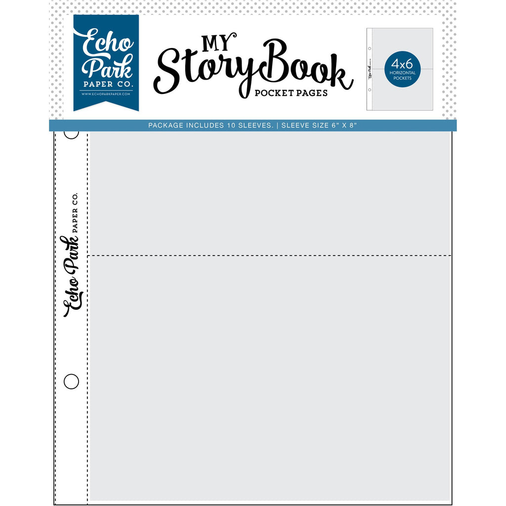 Echo Park - My Story Book Pocket Pages - 6x8 Pocket Page - 4x6 Pockets - 10 Sheet Pack