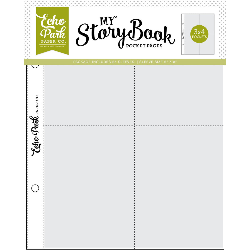 Echo Park - My Story Book Pocket Pages - 6x8 Pocket Pages - 3x4 Pockets - 25 Sheet Pack