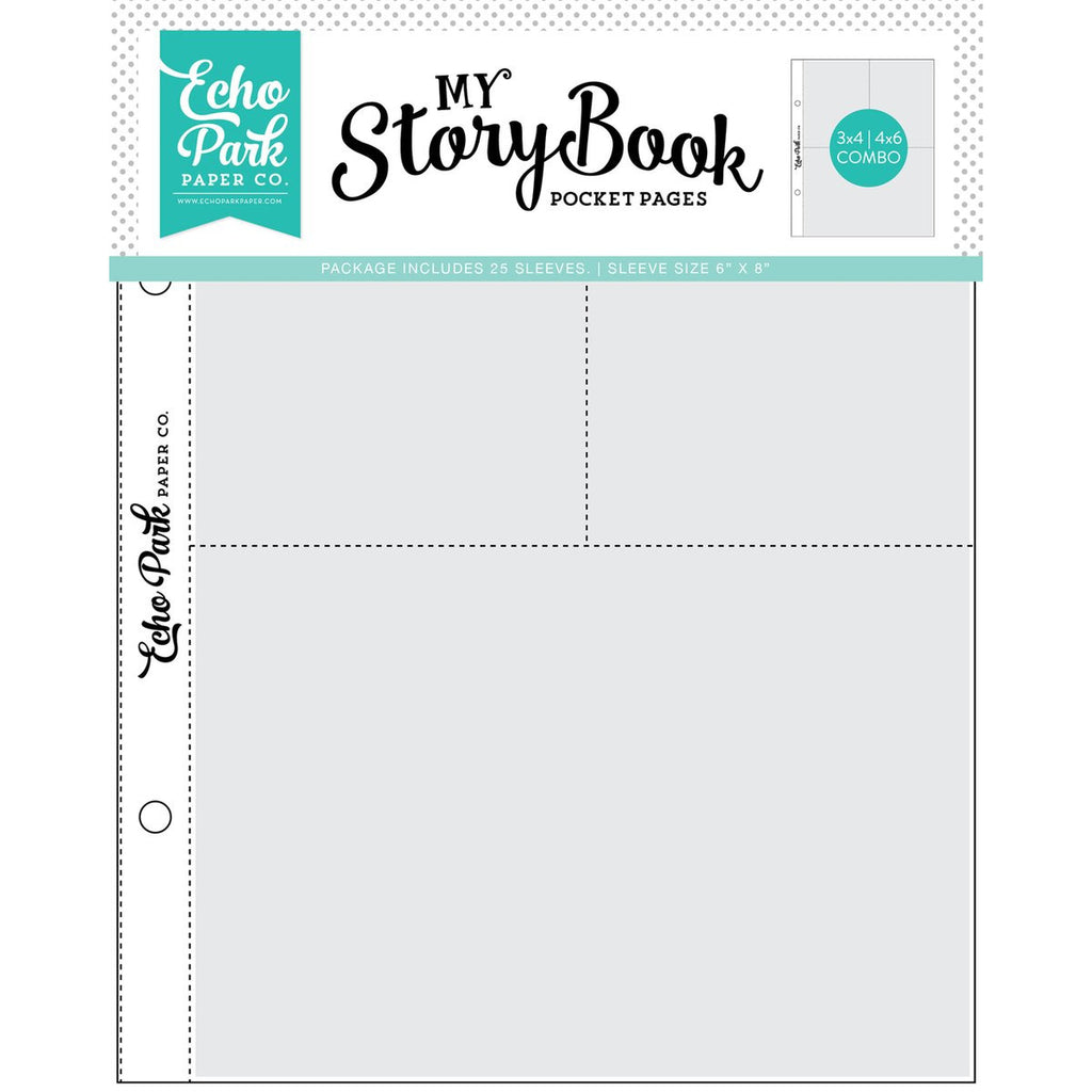 Echo Park - My Story Book Pocket Pages - 6x8 Pocket Pages -  3x4 / 4x6 Pockets - 25 Sheet Pack