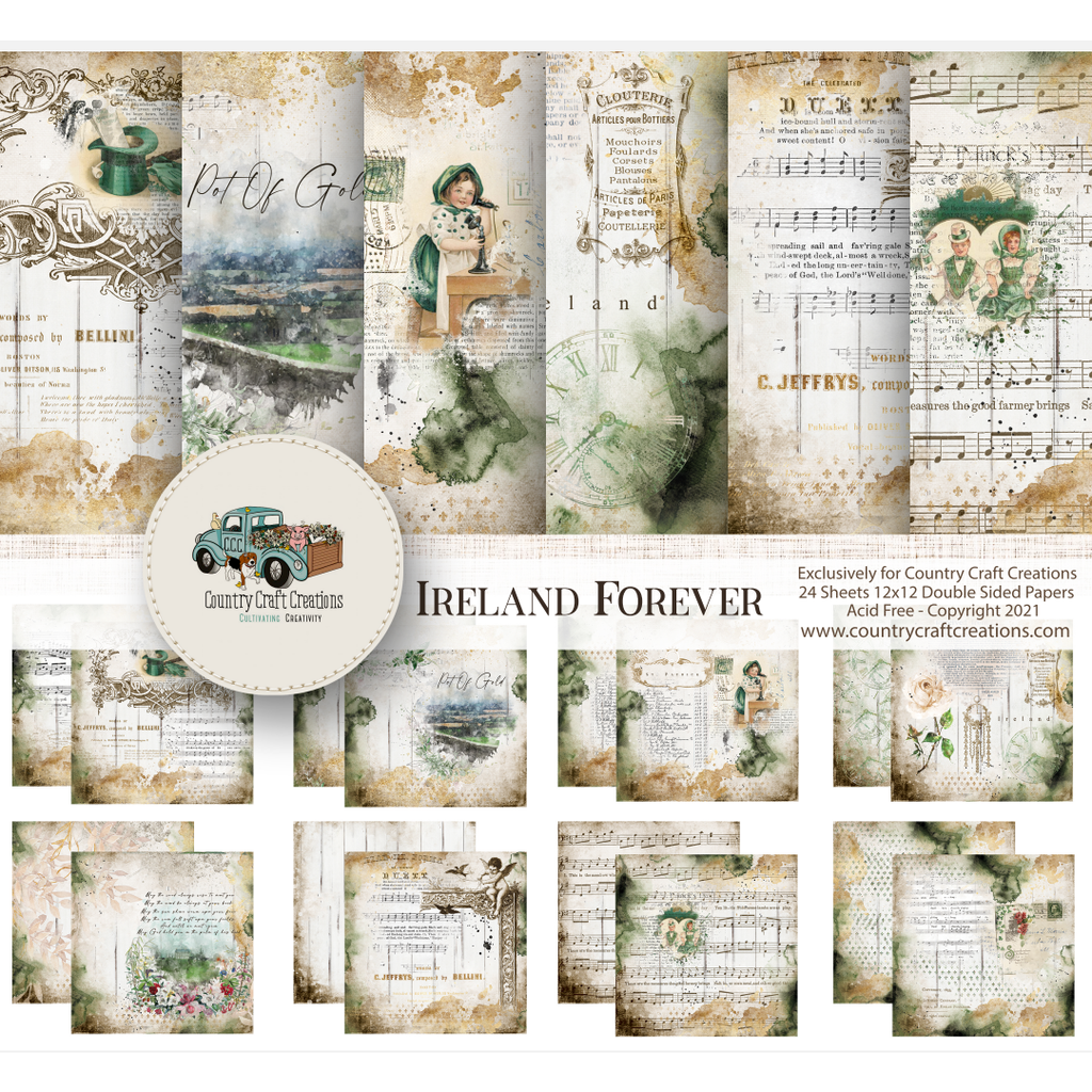 Country Craft Creations - Forever Ireland - Cotton Bristol 24 Sheets.