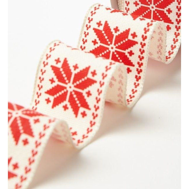 1.5 Inch Wired Scandinavian Snowflake Ribbon - Sold by the Yard Red