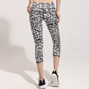 Graffiti Print Stretchy Running Capri Tights Sports