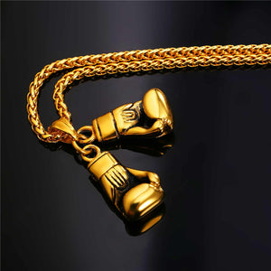 Stainless Steel Boxing Glove Pendant Charm Necklace for Men