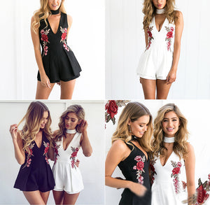Casual and Sexy Women's Romper with Deep V-Neck