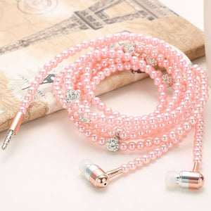 Fashionable Pearl Necklace Earphones with Microphone