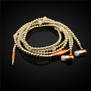 Fashion Bling Diamond Pearl Necklace Earphones with Microphone Beads