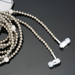 Fashion Bling Diamond Pearl Necklace Earphones with Microphone Beads 3.5mm
