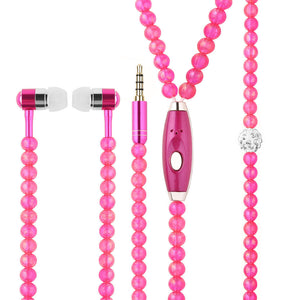 Elegant Pearl Necklace Chain Earphone Stereo Earphones With Mic