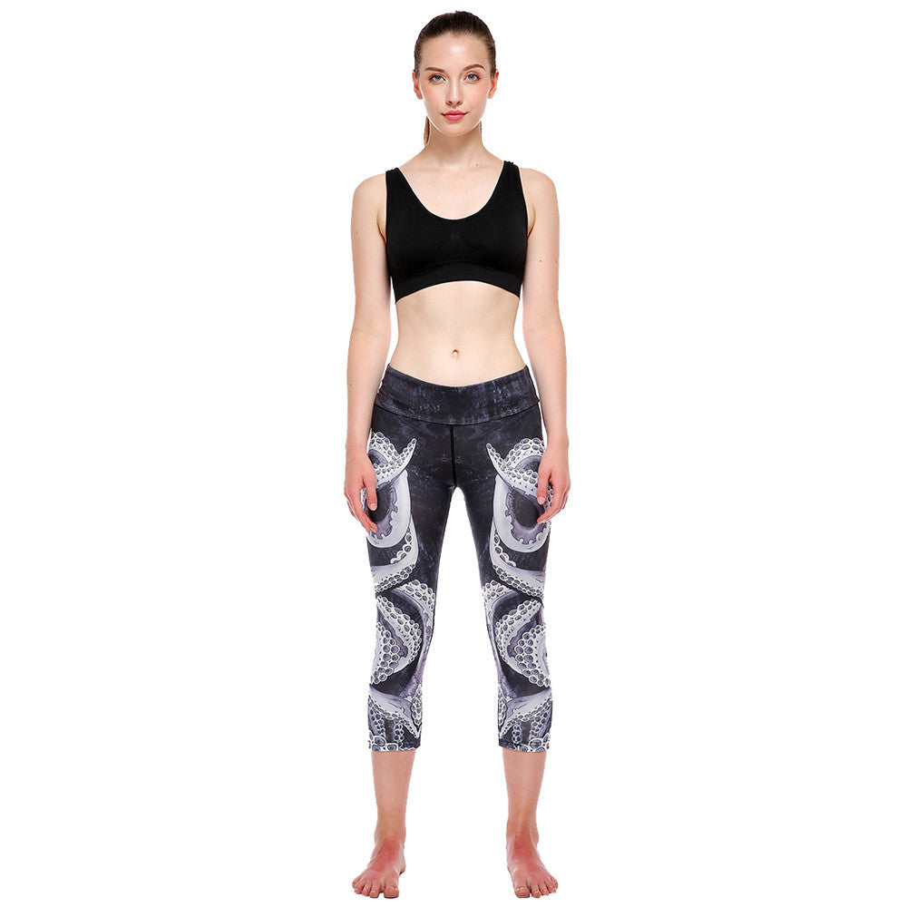 9d4b95baf4d0 High Waist Sports Gym Workout Fitness Yoga Leggings Pants Printed Stretch  Cropped Running tight Leggings