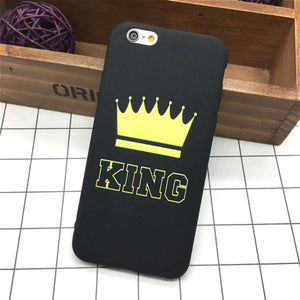 Luxury Silicone King and Queen Soft Ultra Thin Back Phone Case for iPhone 6 and 6s