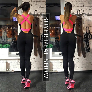 Backless Playsuit Fitness Tights Jumpsuits Yoga Sport Suit