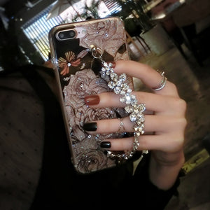 diamond Flower Rose Bracelet chain Glitter cellphone cover case