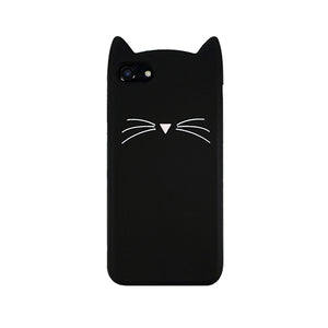 Cartoon Animal Beard Cat Ear Cases soft pu cellphone case