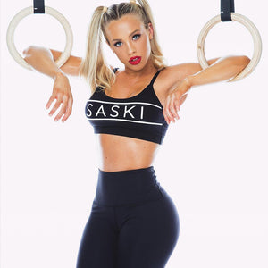 Yoga Shirt Black Push Up Sports bra