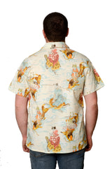 Oriental Koi Fish and Cats Pattern - Light Blue - Hawaiian Shirt