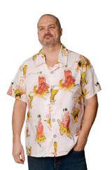 Oriental Koi Fish and Cats Pattern - Light Pink - Hawaiian Shirt