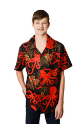 Oriental Octopus Pattern - Red - Hawaiian Shirt