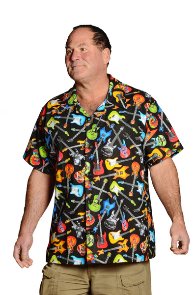 Rockin Guitars Pattern - Bright Colors - Hawaiian Shirt