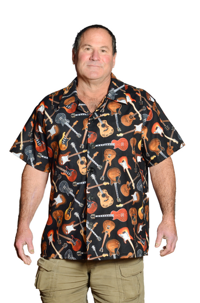 Rockin Guitars Pattern - Black & Brown - Hawaiian Shirt