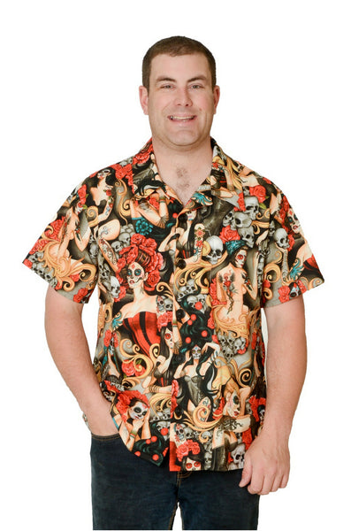 Las Elegantes Pattern - Day of the Dead - Hawaiian Shirt