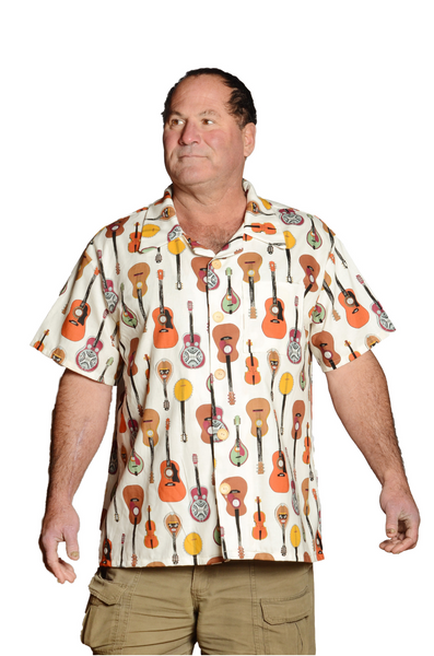 Musical Strings Pattern -  White - Hawaiian Casual Shirt