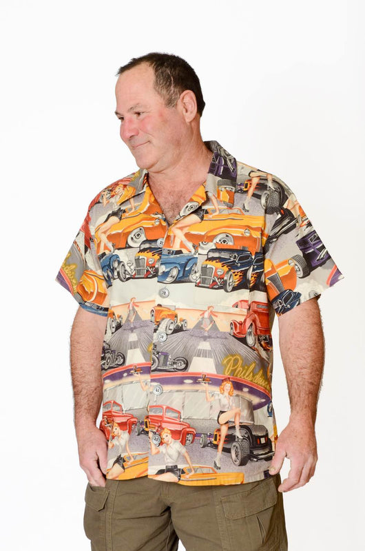 Feak Shirt for Men Retro Cars Print