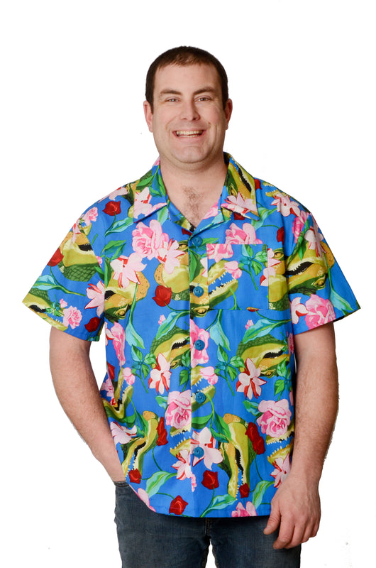 Tropical Crocodile Pattern - Blue - Hawaiian Shirt