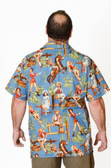Western Cowgirl Retro Pattern - Blue - Hawaiian Shirt