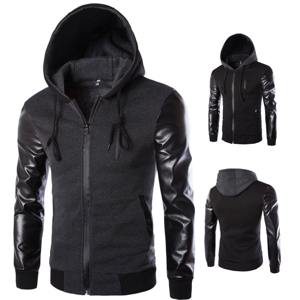 Cool Hooded Jacket Men 2019 Pu Leather Sleeve