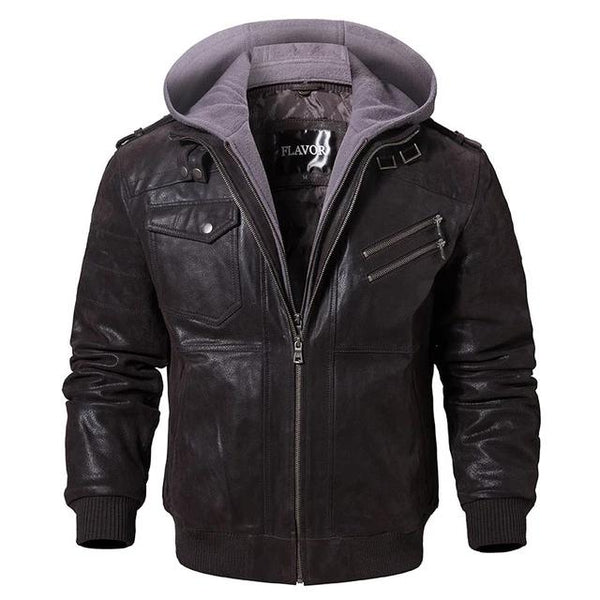 Men's Real Leather Jacket Motorcycle