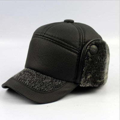 Warm Winter Leather Fur Baseball Cap