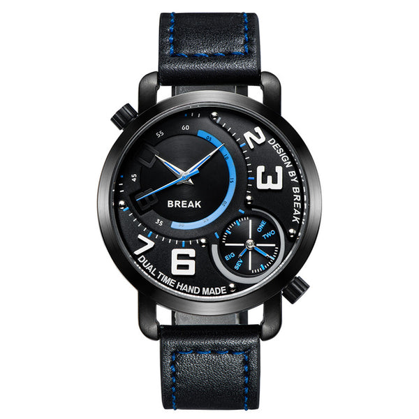 Sports Fashion Dual Time Zone Quartz Wristwatches