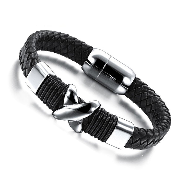 Bracelet Stainless Steel  Genuine Leather