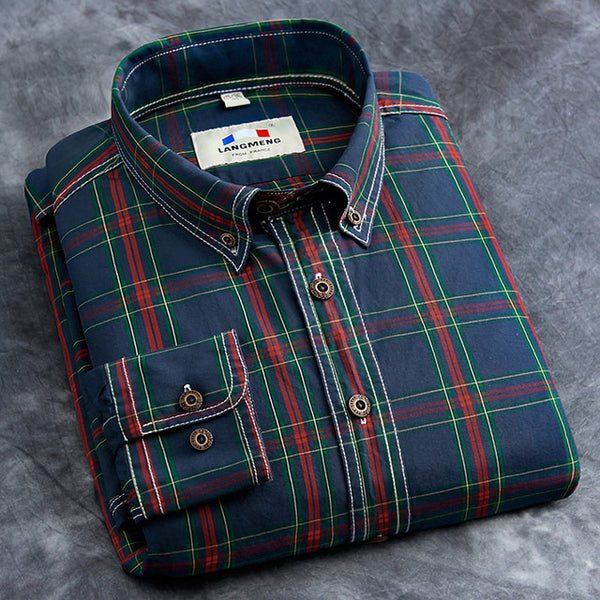 Autumn-Spring Men's Checkered Casual Shirts
