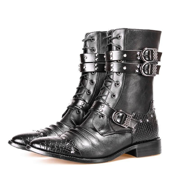 Men's Low Heel Motorcycle Boots