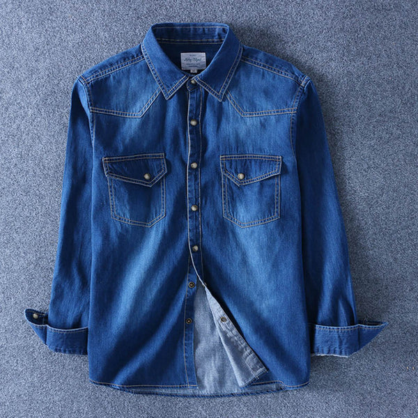 Spring Autumn Men Denim Thin Shirt Long Sleeve Soft 100% Cotton