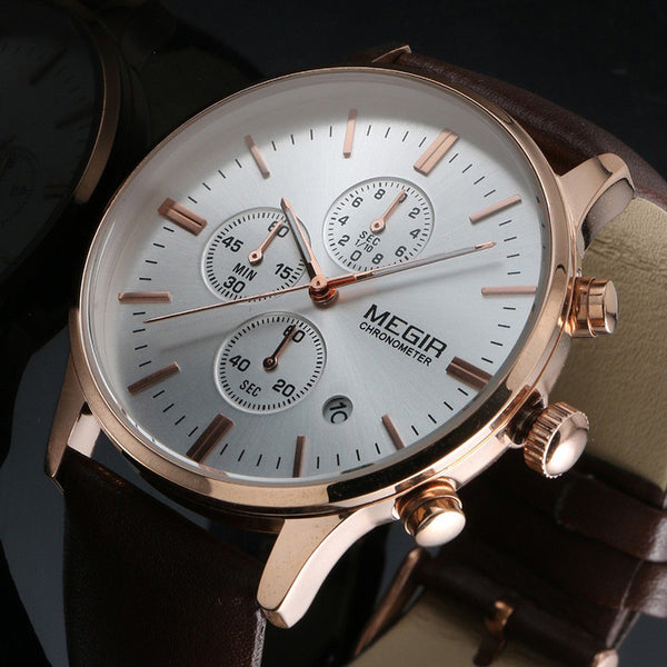 Men's Quartz Watch Leather Strap